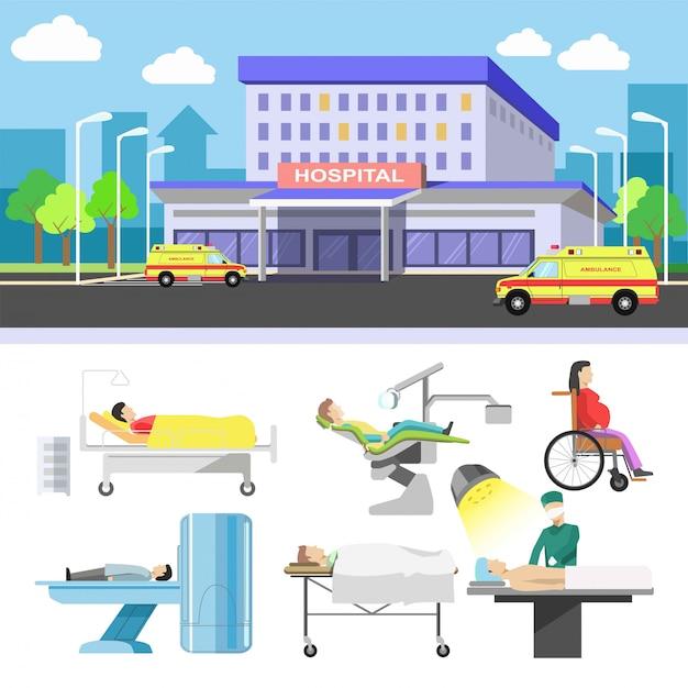 Edifício do hospital e pacientes médicos ícones vector set plana Vetor Premium