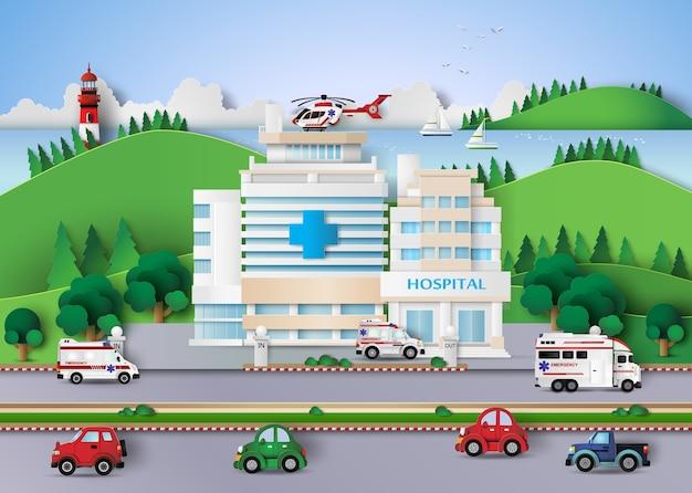 Edifício do hospital Vetor Premium
