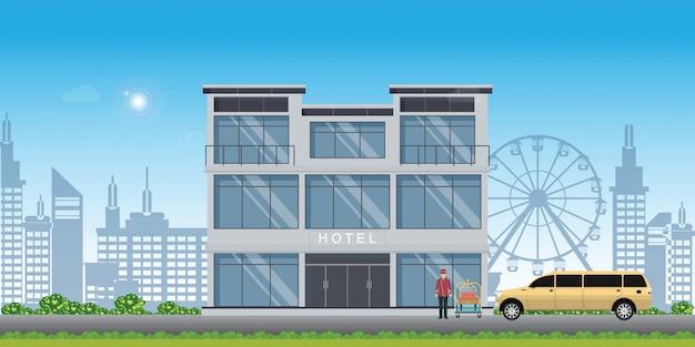 Edifício do hotel com serviço de paquete do hotel e carro de limusine na vista da cidade. Vetor Premium