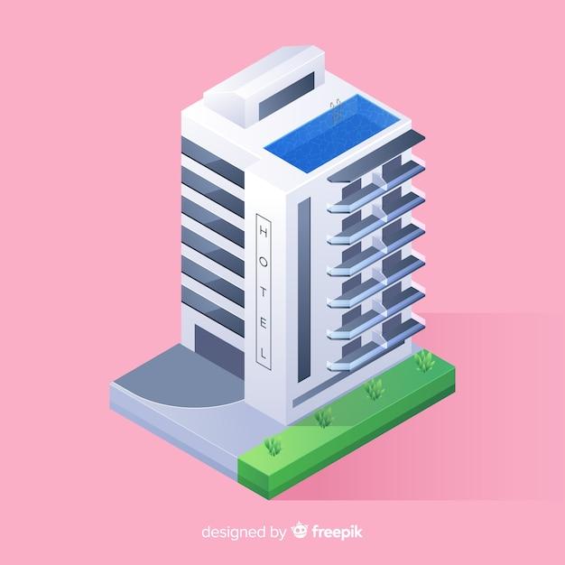 Edifício do hotel isométrico Vetor grátis