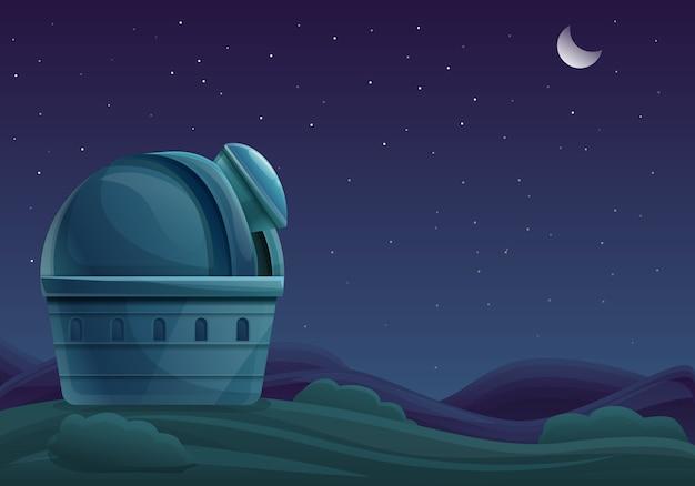 Edifício dos desenhos animados do observatório à noite com um telescópio no céu com estrelas, ilustração vetorial Vetor Premium