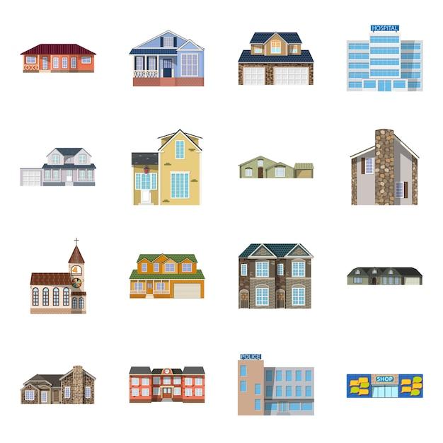 Edifício e ícone da frente. edifício da coleção e material do telhado. Vetor Premium