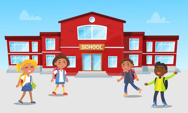 Edifício escolar e crianças jogando jogos no break Vetor Premium