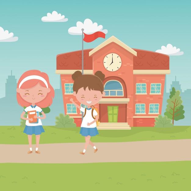 Edifício escolar e crianças Vetor grátis