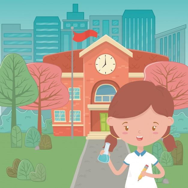 Edifício escolar e desenho de menina Vetor grátis