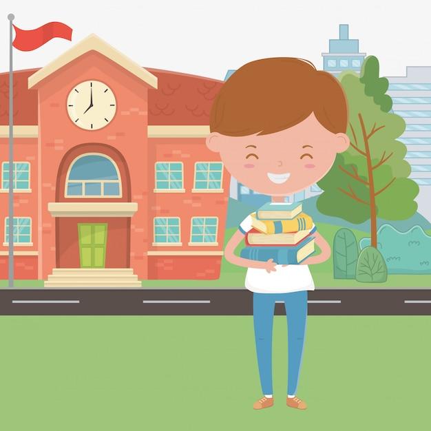 Edifício escolar, e, menino, caricatura Vetor grátis