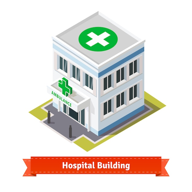 Edifício hospitalar e de ambulância Vetor grátis