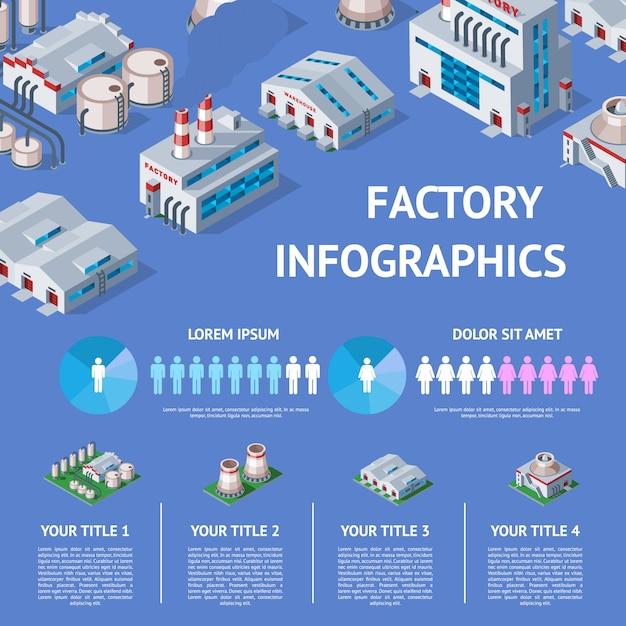 Edifício industrial da fábrica e fabricação da indústria com mapa de infográficos isométrica de ilustração de poder de engenharia de construção de fabricação produzindo energia ou eletricidade em fundo Vetor Premium