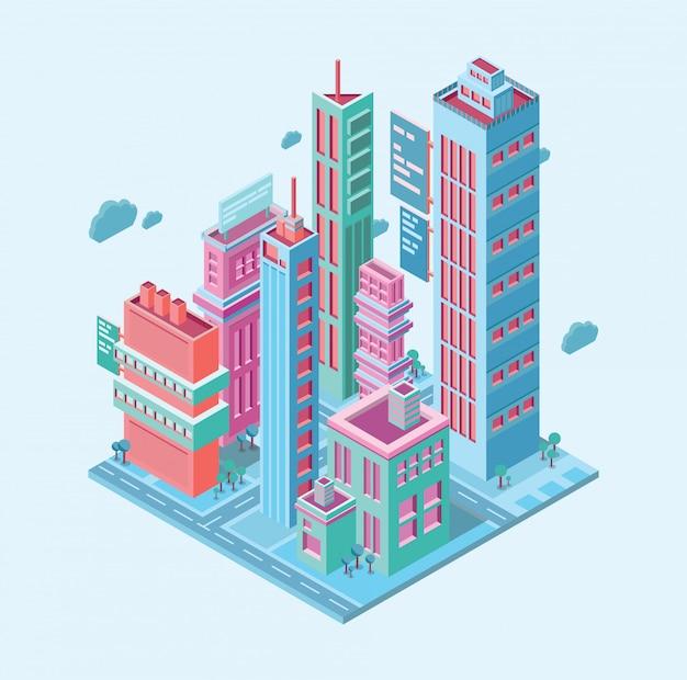 Edifício isométrico. cidade de negócios de megalópole. arranha-céus torres edifícios modernos na ilustração branca Vetor Premium