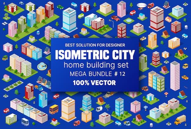 Edifício isométrico conjunto abriga ícones do módulo de blocos Vetor Premium