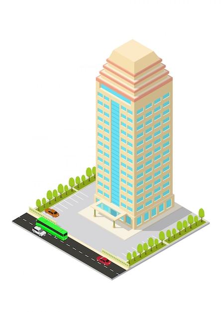 Edifício isométrico de hotel, apartamento, escritório ou arranha-céu Vetor Premium