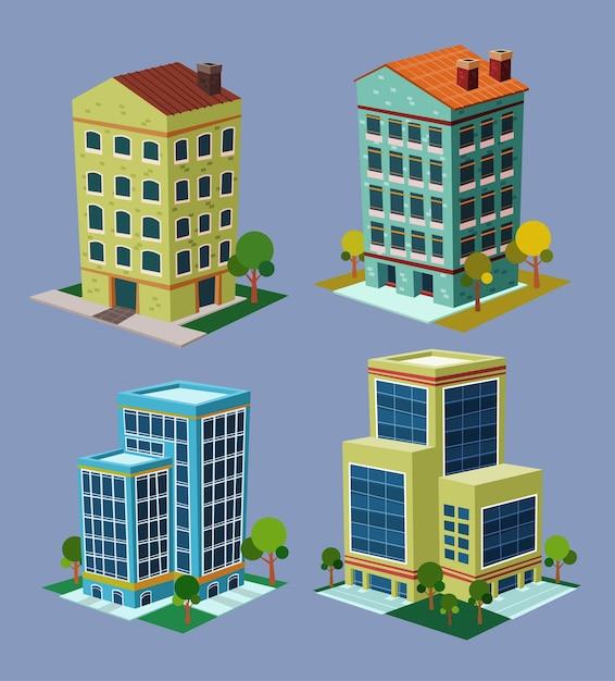 Edifício isométrico de vários desenhos animados | Vetor ...