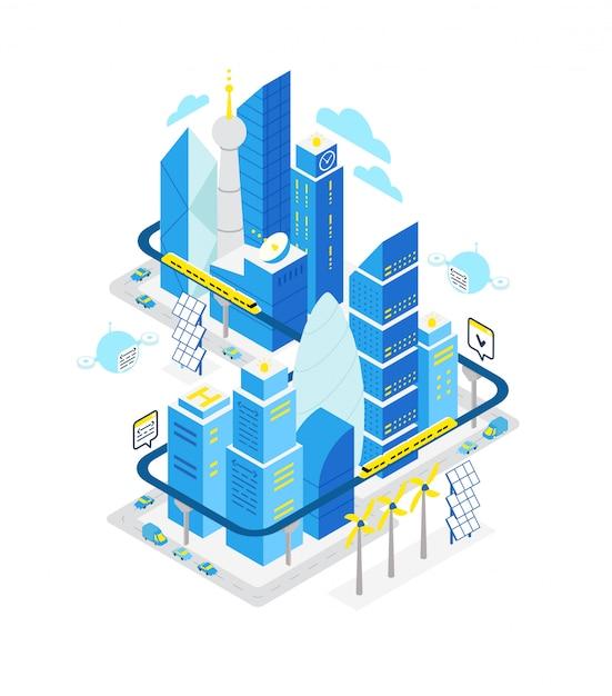 Edifício isométrico do centro de dados da cidade inteligente. hospedagem de automação de tecnologia de servidor com rede. Vetor Premium