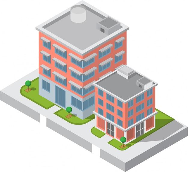 Edifício isométrico. dois que constroem na jarda com estrada. edifício 3d, cidade inteligente Vetor Premium