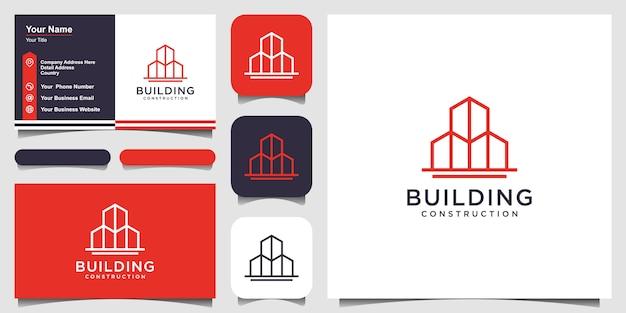 Edifício logotipo com estilo de arte linha. resumo de construção da cidade para design de logotipo inspiração e design de cartão de visita Vetor Premium