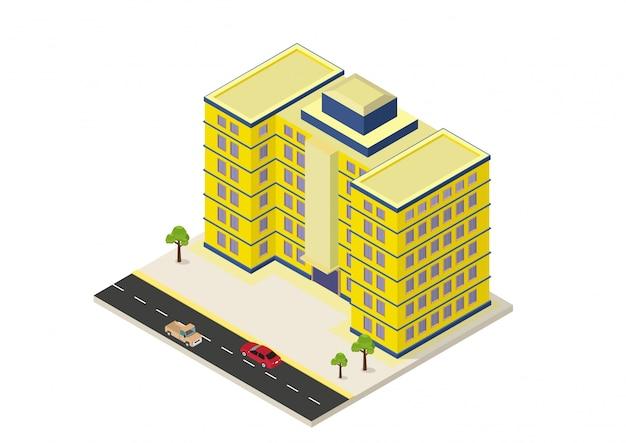 Edifício moderno isométrico Vetor Premium