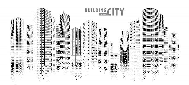 Edifício na cidade Vetor Premium