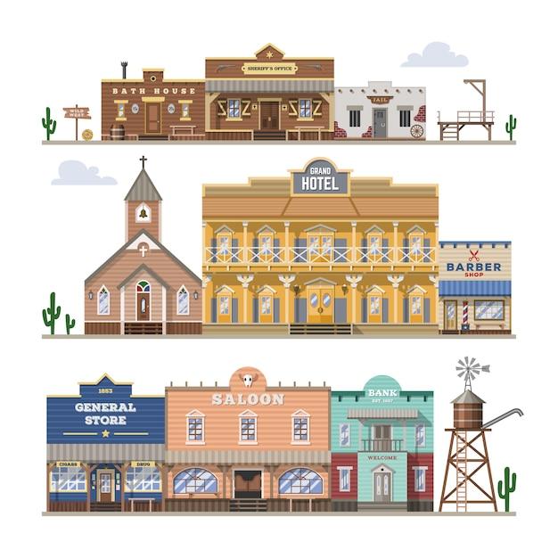 Edifício oeste selvagem do bar e casa ou bar ocidental de vaqueiros na rua ilustração conjunto descontroladamente de paisagem do país com a loja de hotéis de arquitetura em fundo branco Vetor Premium