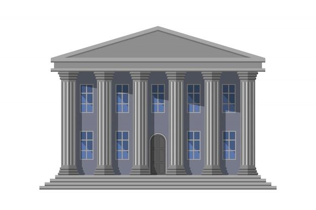 Edifício público retrô com colunas Vetor Premium