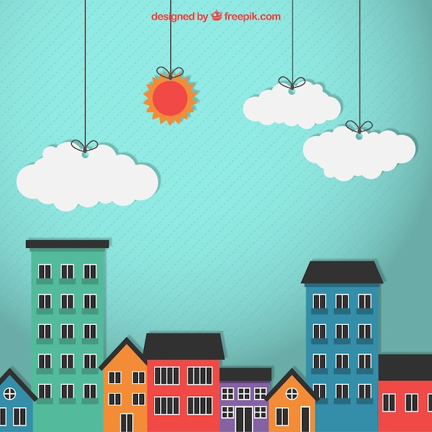 Edifícios da cidade coloridos Vetor grátis