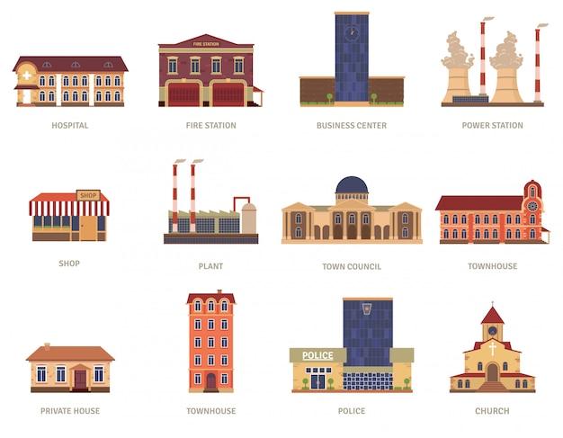 Edifícios da cidade vintage de bombeiros do hospital e centro de negócios no centro de ícones Vetor grátis