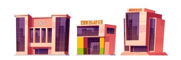 Edifícios de escola, jardim de infância e universidade Vetor grátis
