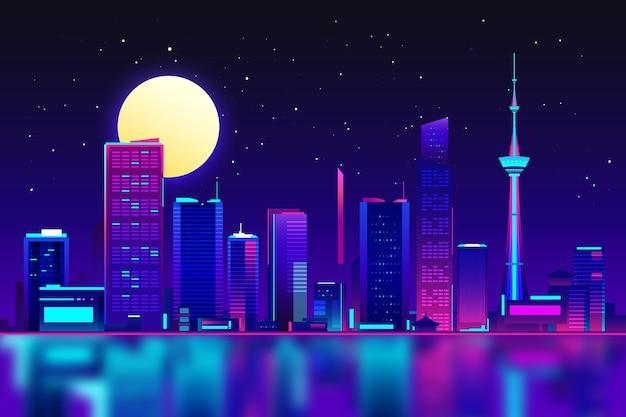 Edifícios de tokio em luzes neon Vetor grátis