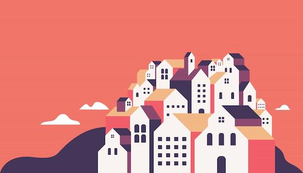 Edifícios geométricos planos. Vetor Premium