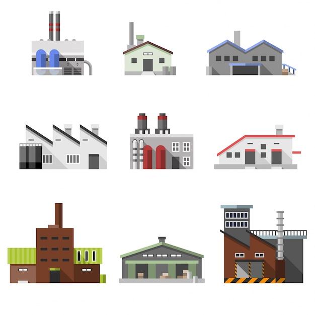 Edifícios industriais planos Vetor grátis