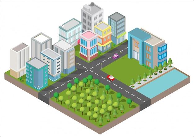 Edifícios isométricos com quintal, rio, estrada e árvores Vetor Premium