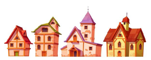 Edifícios medievais, conjunto de arquitetura de cidade de casa Vetor grátis