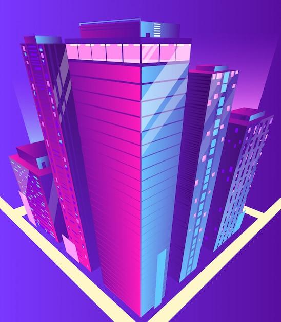 Edifícios modernos arranha-céus Vetor grátis