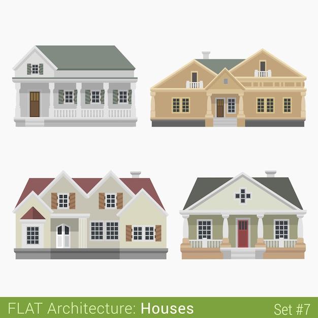 Edifícios modernos campo subúrbio casas geminadas conjunto elementos da cidade arquitetura elegante coleção de propriedades imobiliárias Vetor grátis