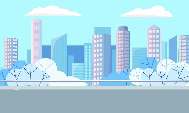 Edifícios modernos, downtown e cityscape vector Vetor Premium