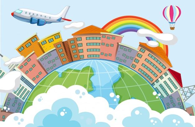 Edifícios na cena do globo com avião Vetor grátis