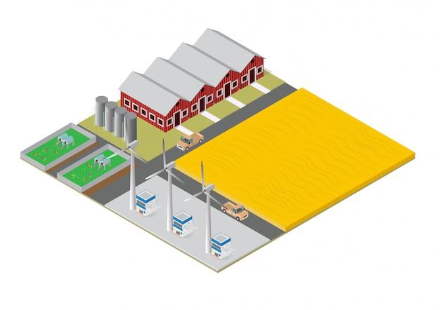 Edifícios rurais de fazenda isométrica Vetor Premium