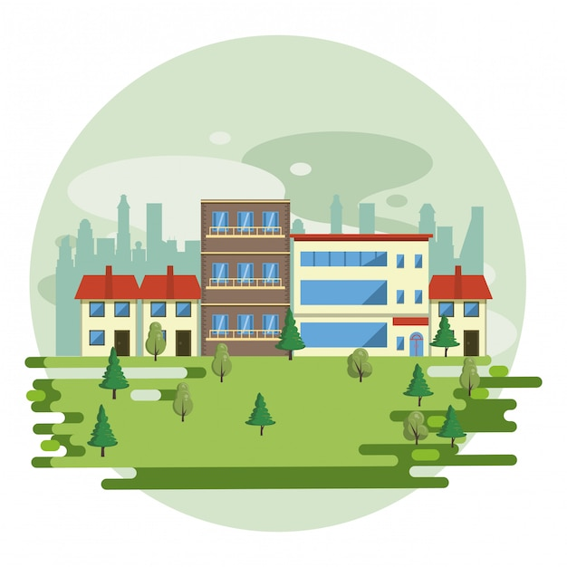 Edifícios urbanos com paisagem urbana Vetor grátis