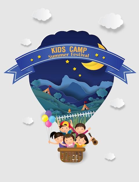 Educação de acampamento de verão de crianças Vetor Premium