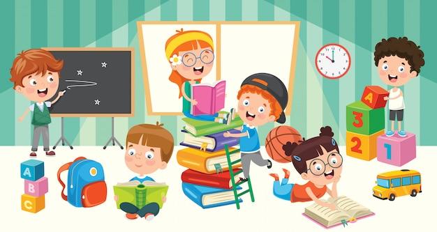 Educação de alunos Vetor Premium