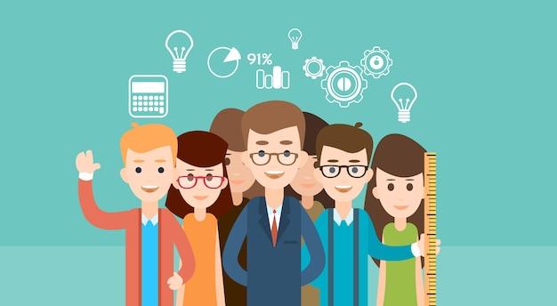 Educação de crianças de escola de grupo de estudante Vetor Premium