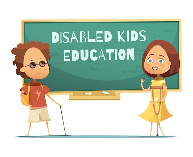 Educação de design de crianças com deficiência com menino cego e menina Vetor grátis