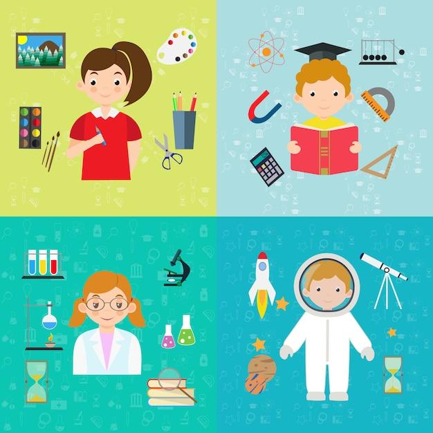Educação de design plano e banner de aprendizagem Vetor Premium