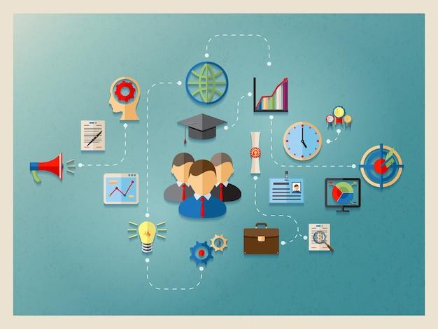 Educação e gestão na web, modelo de design de elemento de infográficos Vetor Premium