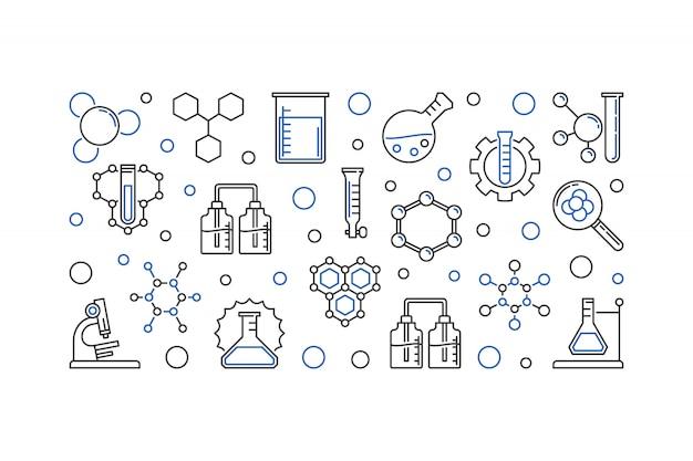 Educação e química contorno contorno ícones Vetor Premium
