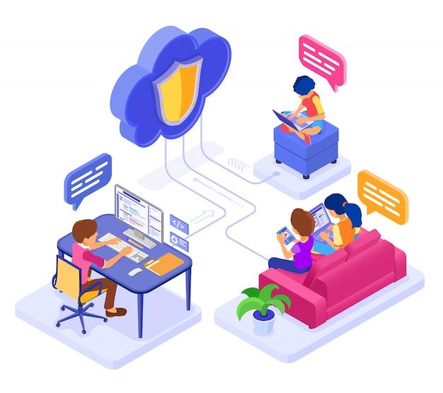 Educação em colaboração online ou exame à distância por meio de tecnologia de nuvem protegida. caráter isométrico trabalho curso de internet e-learning em casa. isolado Vetor Premium
