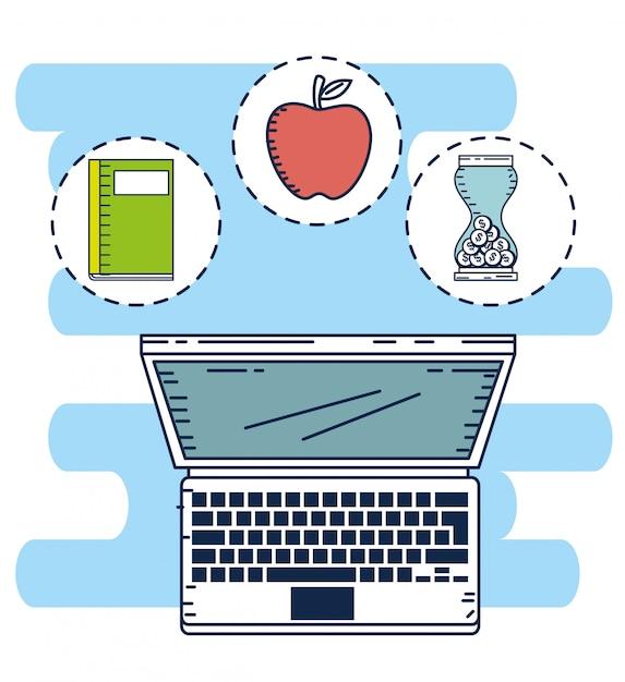 Educação em linha com laptop Vetor Premium