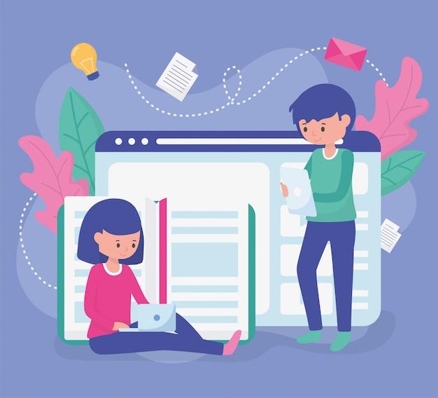Educação escolar dos alunos on-line Vetor Premium