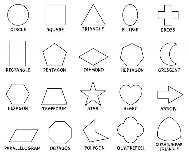 Educação formas geométricas básicas com legendas   Vetor Premium