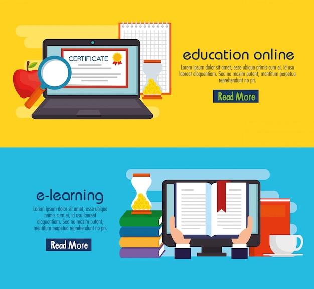 Educação na linha conjunto de ícones Vetor Premium