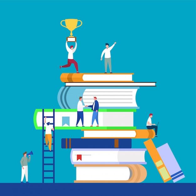 Educação on-line, aprendizagem, 3d, biblioteca digital. Vetor Premium